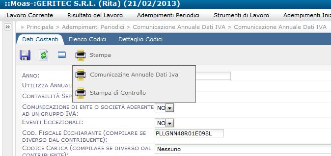 Contabilità facile, comunicazione annuale dati IVA entro il 28-02-2013